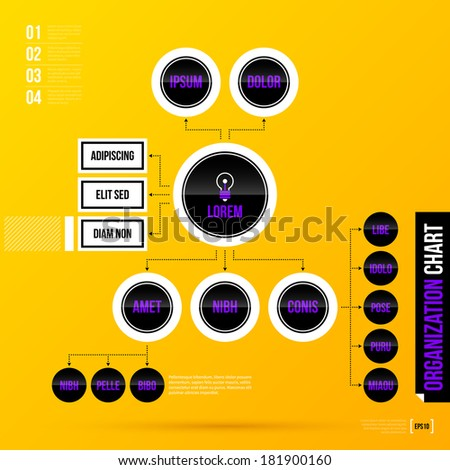 Organization chart template with round elements on bright yellow background. EPS10 - stock vector