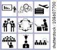 organization development and human resource icon set, vector - stock photo