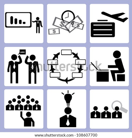 organization development and human resource icon set, vector