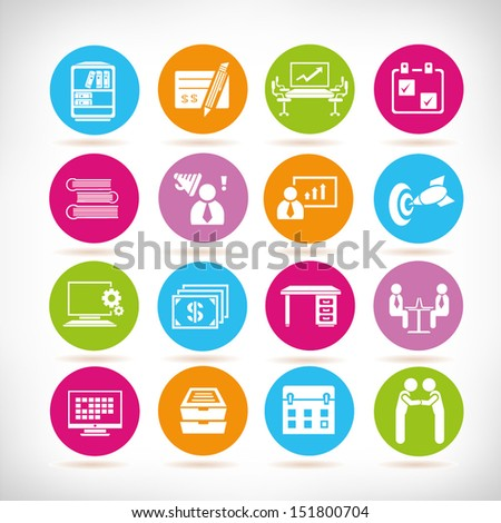 organization management and office management icons, round button set - stock vector