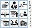 organization management, business and office icon set - stock photo