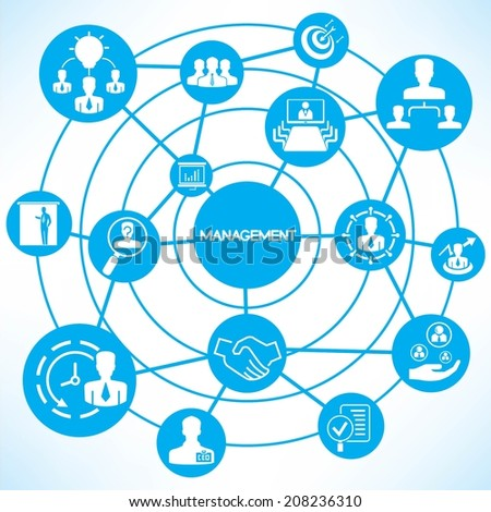 organization management concept info graphic network with blue theme
