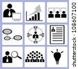 organization management, human resource icon set, vector - stock vector