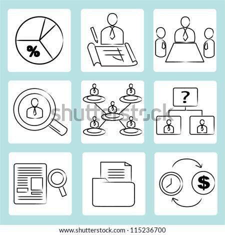 organization management, human resource management, drawing, sketch icon set - stock vector