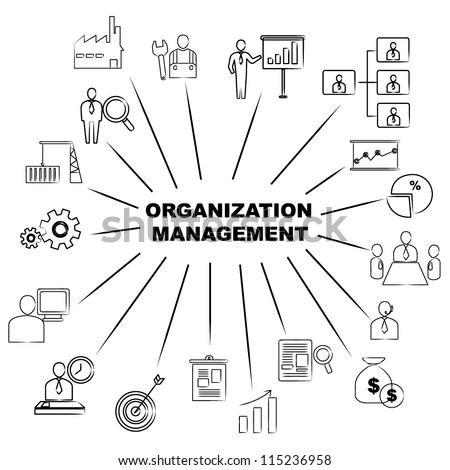 organization management mind mapping - stock vector