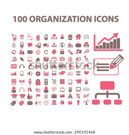 organization, management, presentation isolated icons, signs, illustrations, vector for internet, website, mobile application on white background - stock vector