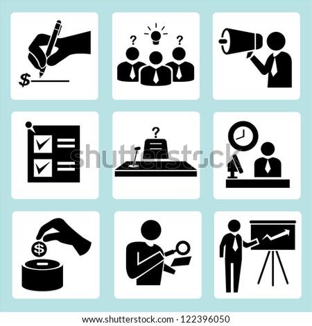 organization, office people set - stock vector
