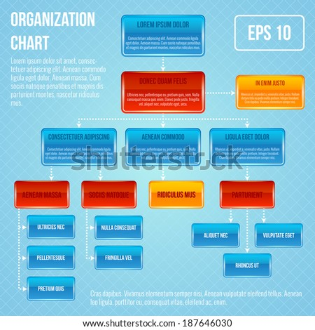 Organizational chart infographic business work hierarchy flowchart structure vector illustration - stock vector