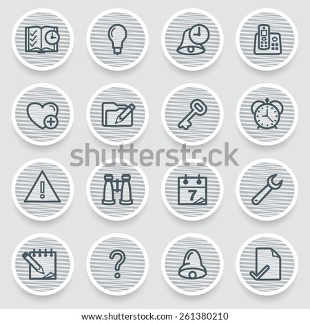 Organizer black icons on gray stickers. - stock vector