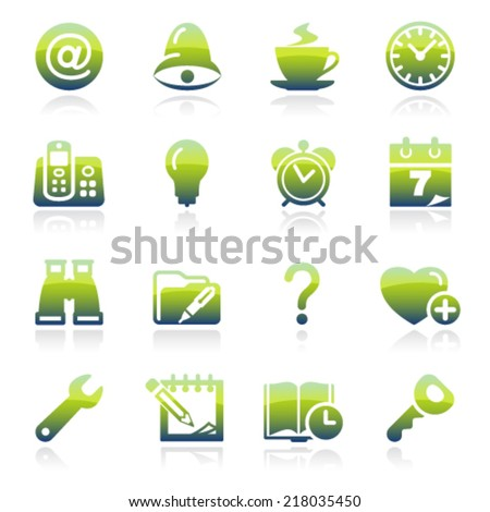 Organizer green icons.