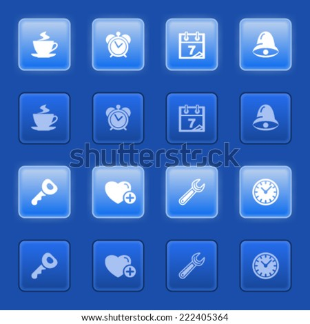 Organizer icons for web on blue buttons.