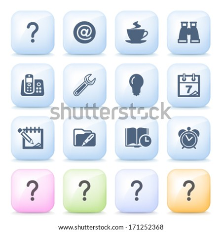 Organizer icons on color buttons. - stock vector