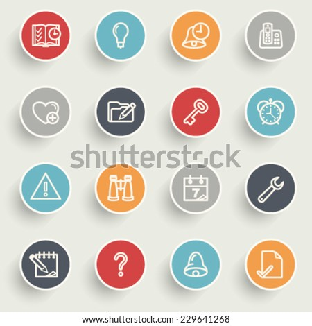 Organizer icons with color buttons on gray background. - stock vector