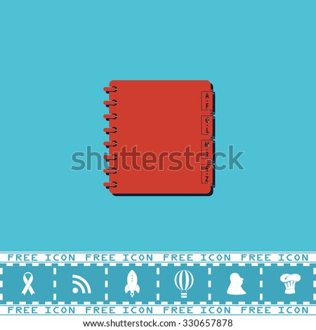 Organizer. Red flat symbol with dark shadow and bonus icon. Simple vector illustration pictogram on blue background - stock vector