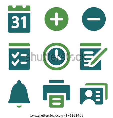 Organizer web icons, green mix set - stock vector