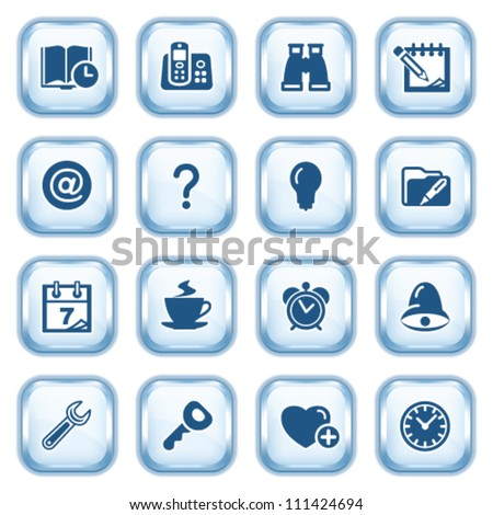 Organizer web icons on glossy buttons. - stock vector
