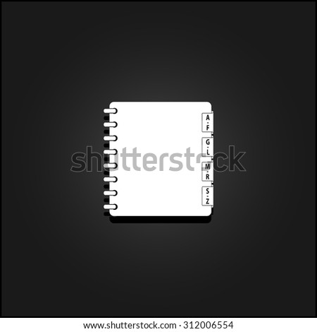 Organizer. White flat simple vector icon with shadow on a black background - stock vector