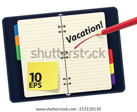 Organizer with pencil, isolated. Vector illustration - stock vector