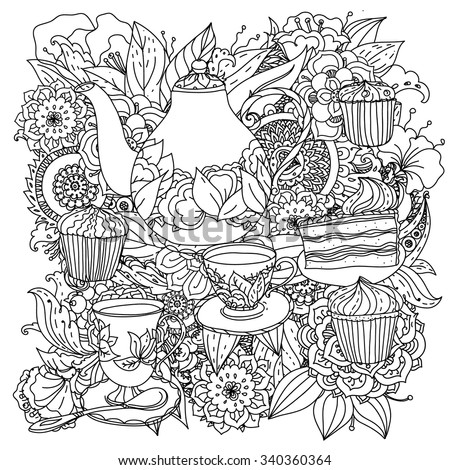 Orient floral black and white  ornament. With elements of time for tea, cups, teapot, cake and cupcakes. Could be use  for coloring book  in zentangle style.  - stock vector