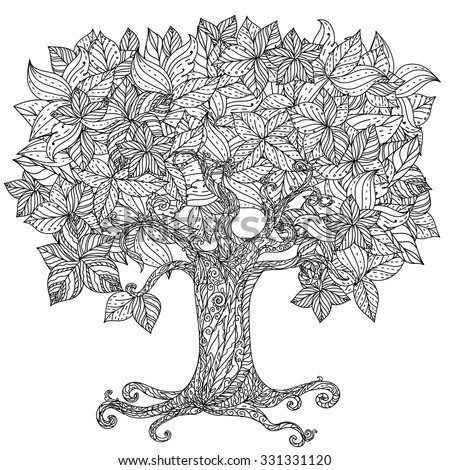 Orient floral black and white tree could be use  for coloring book  in zentangle style.  - stock vector
