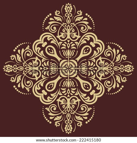Orient vector ornamental round lace with damask and arabesque elements. Traditional ornament