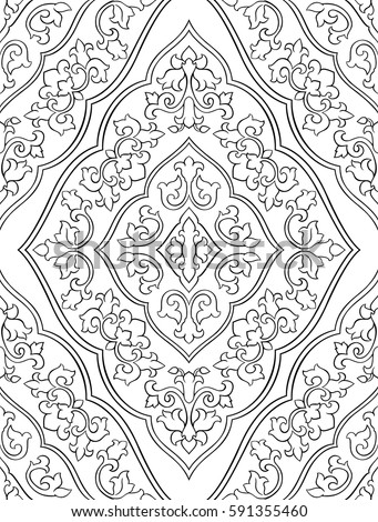 Oriental Abstract Ornament Template Carpet Textile Stock