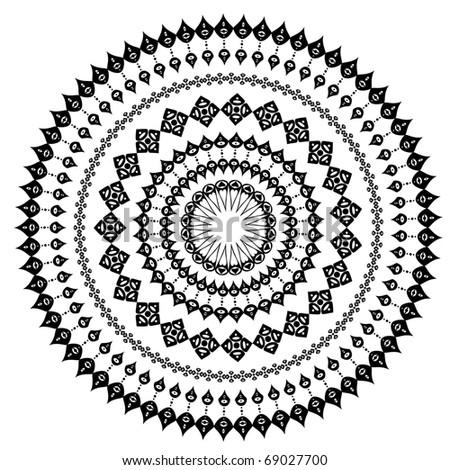 oriental arabesque pattern round - stock vector