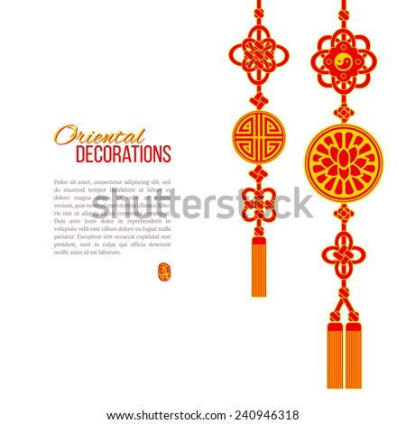Oriental Asian red and golden tassel decorations. Lotus image, ying yang symbol and knot elements. Stamp with a Chinese hieroglyph for 'joy'. - stock vector