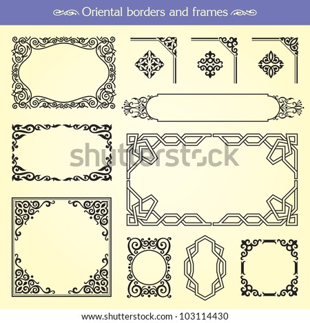 Oriental asian vector borders, frames and corners - stock vector