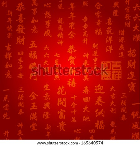 Oriental Chinese New Year Background Vector Design (Chinese Translation: Happy New Year, Greetings, Congratulations, All the Best, Good Luck, Welcome Prosperity) - stock vector