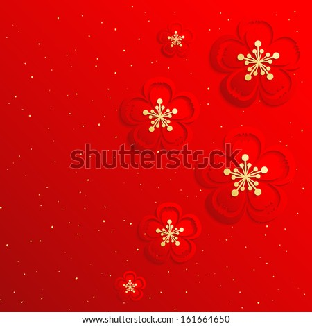 Oriental Chinese New Year Cherry Blossom Background - stock vector