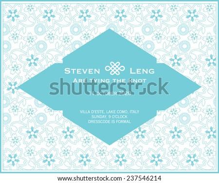 oriental/chinese wedding invitation card template vector/illustration - stock vector