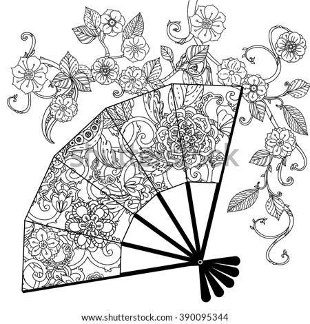 Oriental fan decorated with floral patterns Zentangle interpretation. Black and white. Vector illustration. The best for your design, textiles, posters, coloring book - stock vector