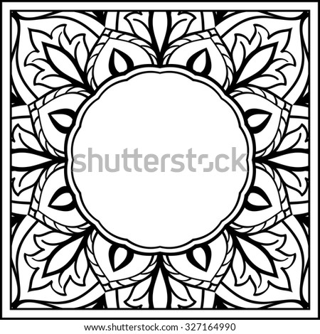 Oriental, floral black-white frame. Backdrop with ornaments and place for text. Vector card. Book cover, vinyl cover, CD, DVD cover. - stock vector