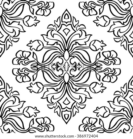 Oriental, floral ornament with damask. Templates for carpet, textile, wallpaper,  tile and any surface. Seamless vector pattern of black contours on a white background.