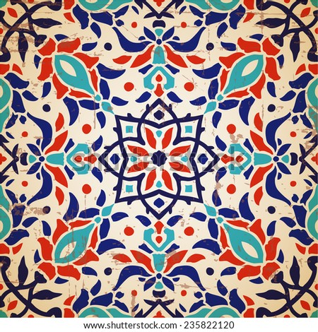 Oriental floral traditional ornament, Mediterranean seamless pattern, tile design, vector illustration - stock vector