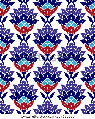 Oriental floral traditional ornament, Mediterranean seamless pattern, Turkish tile design, vector illustration - stock vector