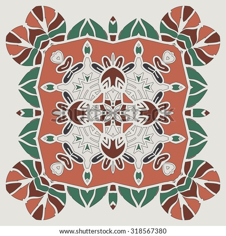 Oriental four-corner mandala print. Round lase pattern on the black background, like snowflake or mehndi paint full of bright color. Native art concept backgrounds. Handmade carpet ornament.