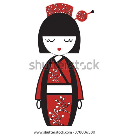 Oriental Japanese geisha  doll with kimono with oriental flowers and  stick with round element inspired by Asian  tradition - stock vector