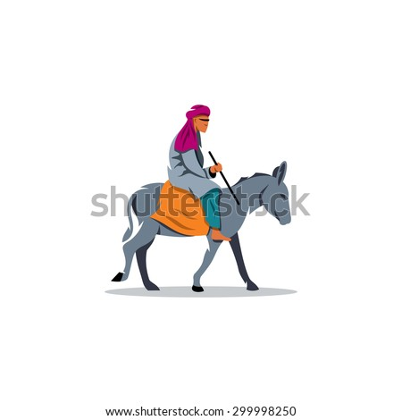 Oriental man dwarf donkey sign. Vector Illustration. Branding Identity Corporate logo design template Isolated on a white background - stock vector