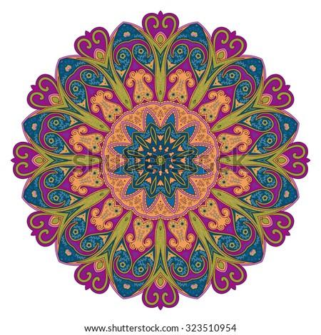 Oriental mandala. Ornamental circle pattern - stock vector