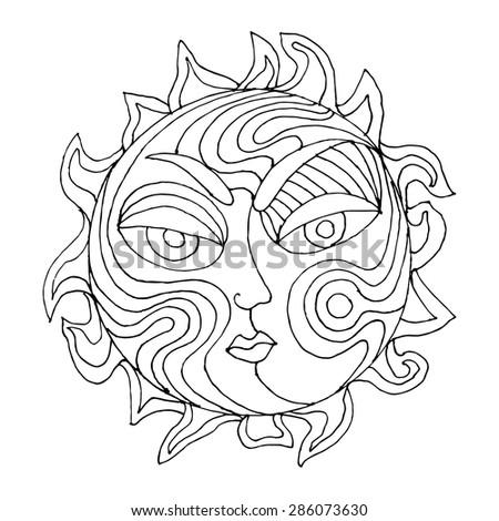 Oriental Moon and Sun illustration  - stock vector
