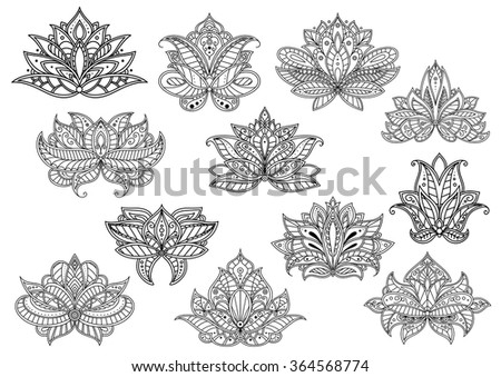 Oriental outline paisley flowers with ethnic persian, indian and turkish openwork motifs. Floral elements for textile, interior accessories or carpet pattern design - stock vector