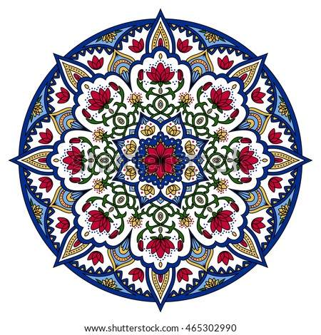 Oriental Pattern. Colored Round Arabic, Indian, American, Moroccan Ethnic  Ornament Such As