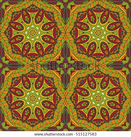 Oriental pattern. Traditional seamless ornament. Mandala. Flower. Doodle drawing. Red and orange