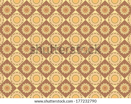 Oriental Seamless Floral Pattern with brow coffee color circular and square elements - stock vector