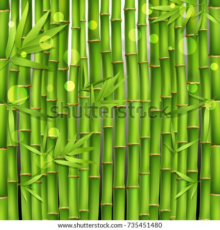 Oriental seamless green pattern composed from young tropical bamboo shoots and leaves realistic vector illustration