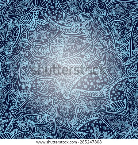 Oriental seamless paisley vector pattern. EPS 10 vector illustration with transparency. - stock vector