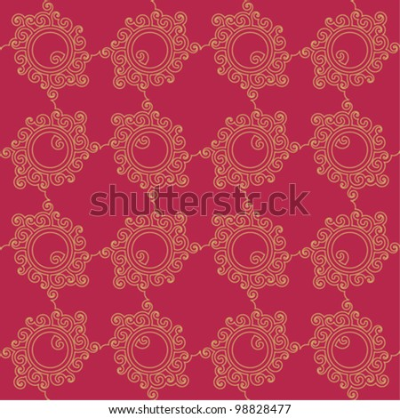 Oriental seamless pattern, maroon and gold