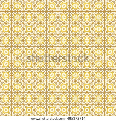 Oriental seamless pattern vector. Islamic pattern. Golden yellow geometric shapes on white background